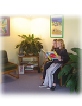 Mom and Daughter in Dr. Aine Sweeney office lobby